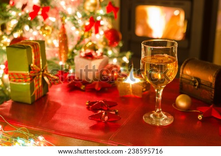 wine, gifts, candles, fireplace, christmas tree
