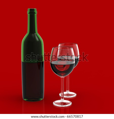wine glass and bottle on red