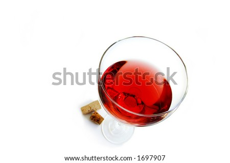 wine glass and corks - stock photo
