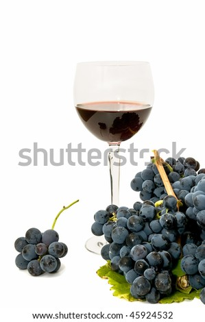 wine glass decorated with leaves and grapes
