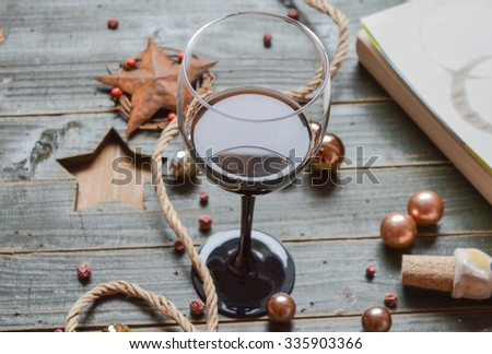 Wine glass on a wooden background  - stock photo