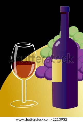 Wine glass on table with grapes