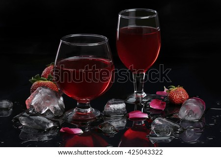Wine Glass Realistic photo composition - stock photo