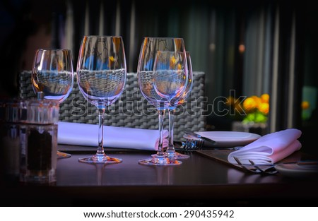 wine glass, summer restaurant  - stock photo