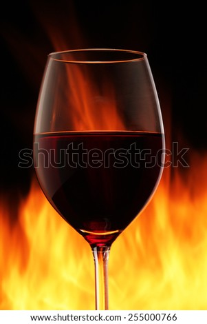 Wine glass with a fire on a black background - stock photo