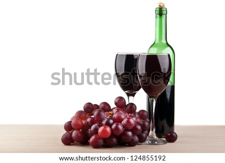 wine glass with grape isolated on white