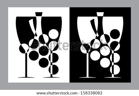 Wine glasses and  bottle sign - stock photo