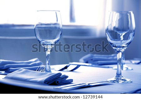 Wine glasses on the table - shallow depth of field