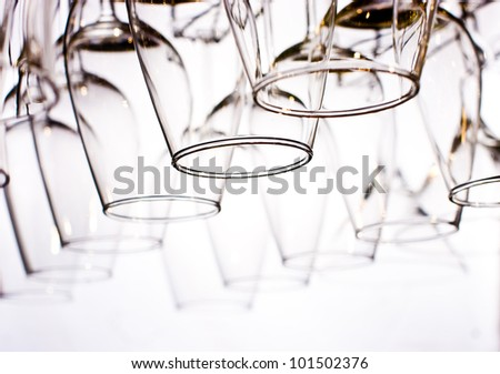 wine glasses on the white - stock photo