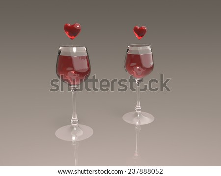 Wine glasses with hearts above - stock photo