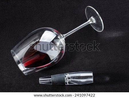Wine gourmet accessories wine glass and aerator - stock photo