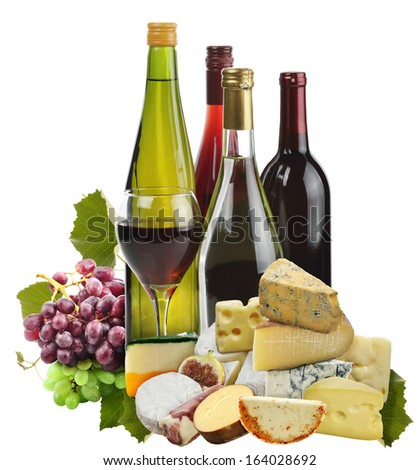 Wine ,Grape And Cheese Isolated On White