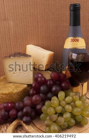 Wine,grape,cheese - stock photo