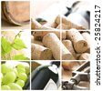 wine, grape, corks and corkscrew - stock photo