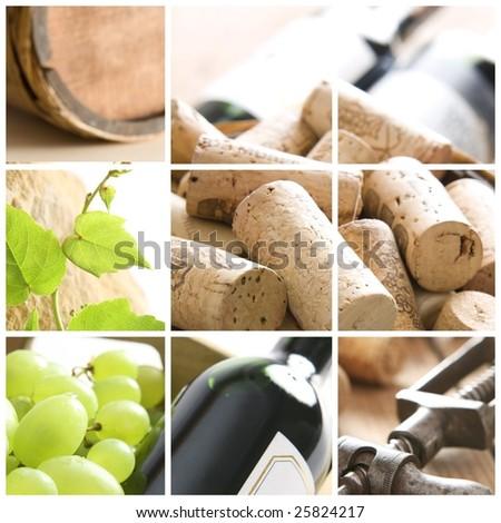 wine, grape, corks and corkscrew - stock photo