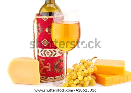 Wine, grapes and cheese isolated on white background. - stock photo
