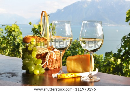 Wine, grapes and cheese. Lavaux region, Switzerland