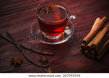 Wine. Hot wine for winter and Christmas with various spices - stock photo