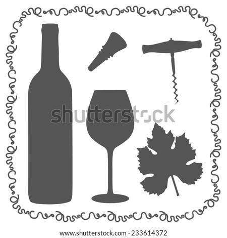 Wine icon set. Design template for label, banner, postcard, logo. Wedding, anniversary, birthday, Valentine's day, party invitations. Raster illustration. - stock photo