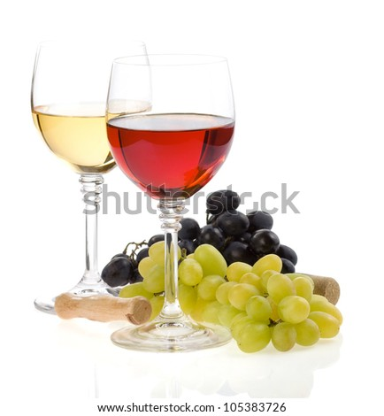 wine in glasses and fresh grape isolated on white background - stock photo