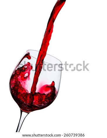 wine is poured into a glass on a white background