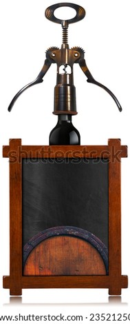 Wine List Empty Blackboard / Rustic and empty blackboard with wooden frame, old corkscrew, black wine bottle and old wooden barrel. Template for wine list or menu - stock photo