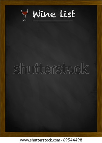 Wine list on a framed blackboard with small glass illustration - stock photo
