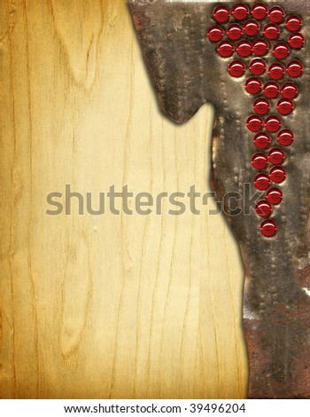 Wine menu board metal on wood - stock photo