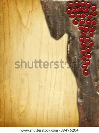 Wine menu board metal on wood - stock photo