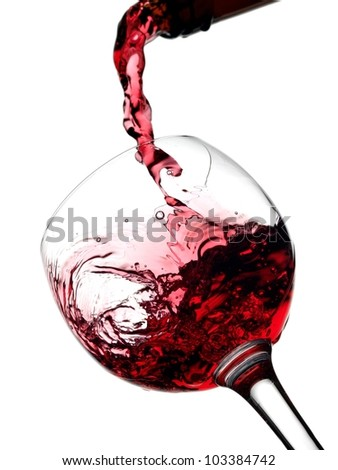 Wine pouring, view below - stock photo