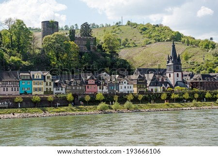 Wine producing town of Bacharach, Rhineland-Palatinate, in the famous Rhine Gorge north of Rudesheim, Germany  - stock photo