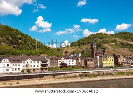 Wine producing town of Lorchhausen, Hesse in the famous Rhine Gorge region north of Rudesheim, Germany - stock photo