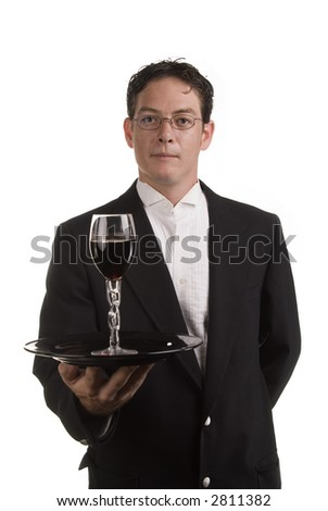 wine server in a tux - stock photo