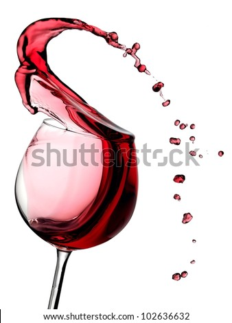 Wine splash with drops - stock photo