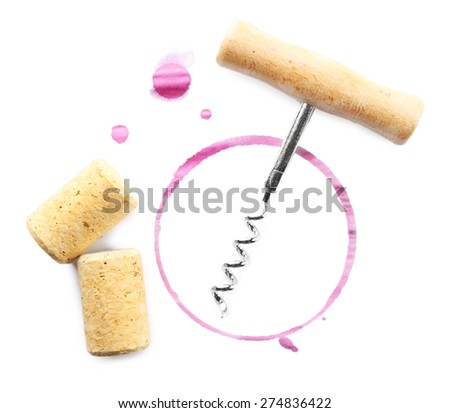 Wine stain, corks and corkscrew  isolated on white - stock photo