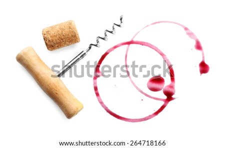 Wine stains, cork and corkscrew  isolated on white - stock photo