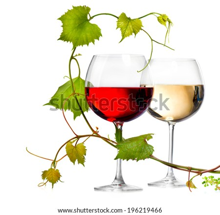 Wine. Two Glasses of red and white wine decorated with grape leaves. Glass of wine isolated on white background. Rose. Vine leaf. Art design element  - stock photo