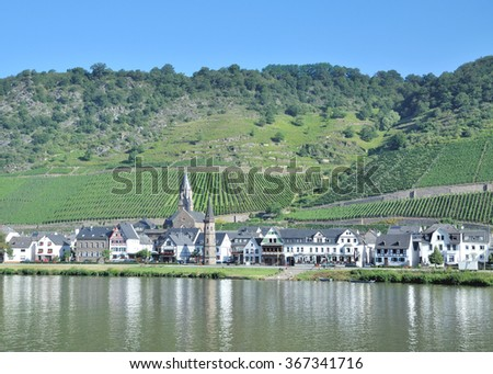 Wine Village of Hatzenport at Mosel River in Mosel Valley,Rhineland-Palatinate,Germany - stock photo