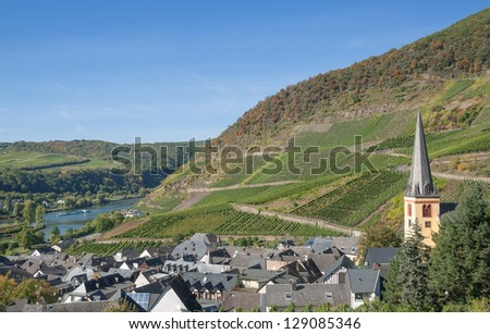 Wine Village of Senheim at Mosel River near Cochem,Germany - stock photo
