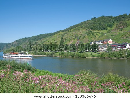 Wine Village of Valwig near Cochem at Mosel River in Mosel Valley,Germany - stock photo