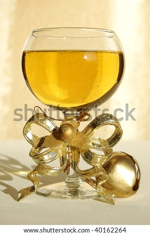 wine with decoration - stock photo
