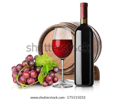 Wine with grape and barrel isolated on white