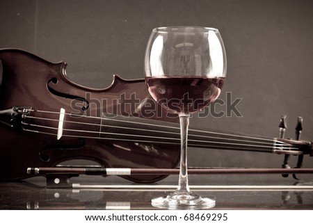 Wine with Violin in Background - stock photo