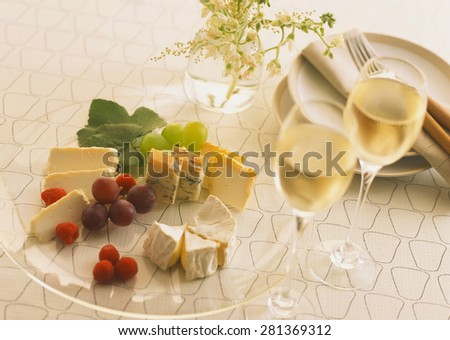 wine with wineglasses on a celebratory table - stock photo