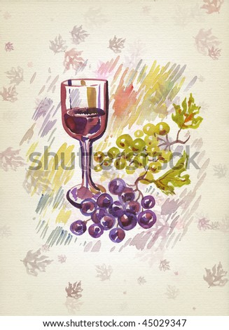 Wineglass and bunch of grapes. Watercolor. Art winemaking background. - stock photo
