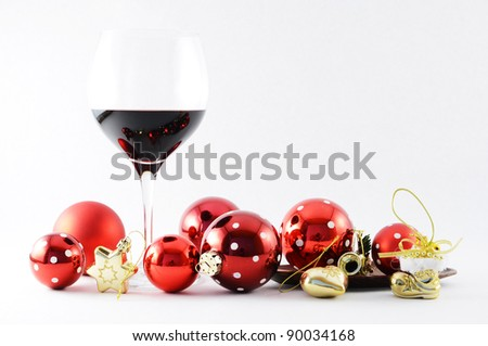 Wineglass and Christmas toys