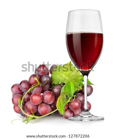 Wineglass and grapes isolated on a white background - stock photo