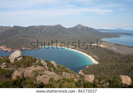Wineglass Bay, Freycinet National Park, Tasmania, Australia - stock photo