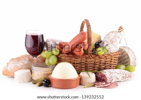 wineglass, dairy product and meat - stock photo