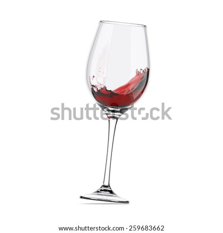 wineglass moved, isolated - stock photo